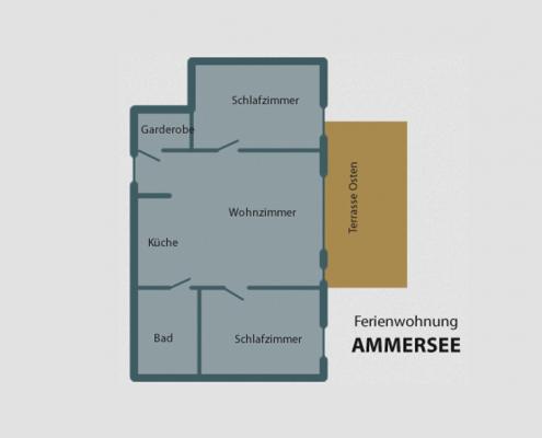 """Ferienwohnung """"Ammersee"""" - Übersicht Zimmer"""