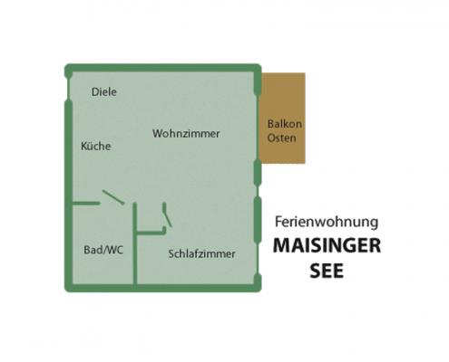"""Ferienwohnung """"Maisinger See"""" - Wohnungsaufteilung"""