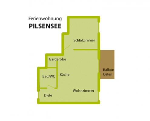 """Ferienwohnung """"Pilsensee"""" - Wohnungsaufteilung"""