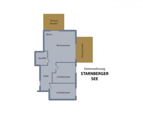 """Ferienwohnung """"Starnberger See"""" - Wohnungsaufteilung"""