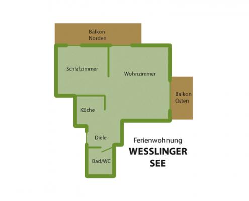 """Ferienwohnung """"Weßlinger See"""" - Wohnungsaufteilung"""