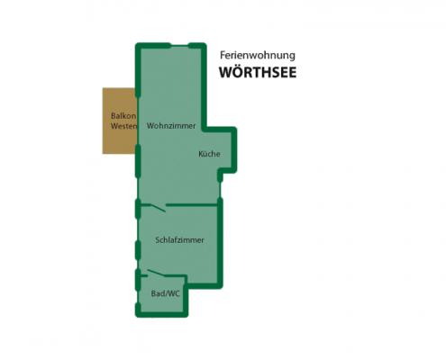 """Ferienwohnung """"Wörthsee"""" - Wohnungsaufteilung"""
