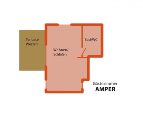 """Gästezimmer """"Amper"""" - Zimmeraufteilung"""