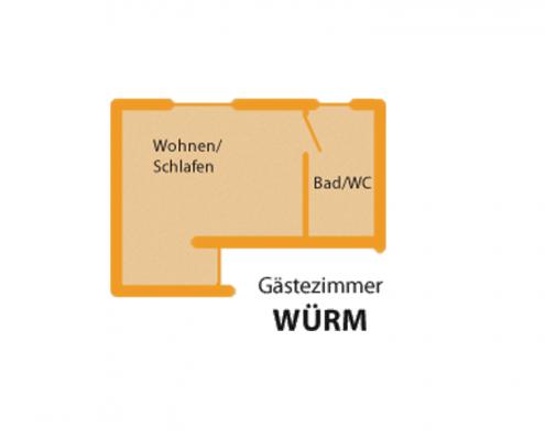 """Gästezimmer """"Würm"""" - Zimmeraufteilung"""
