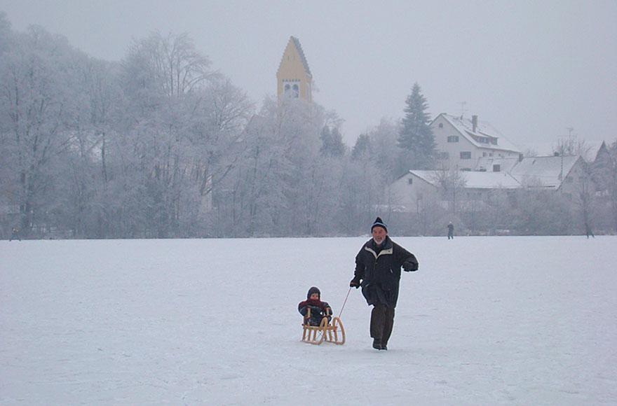 Impressionen vom Weßlinger See - Schlittenfahrt auf dem zugefrorenem See