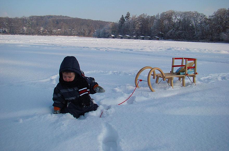 Impressionen vom Weßlinger See - Schnee auf dem zugefrorenem See